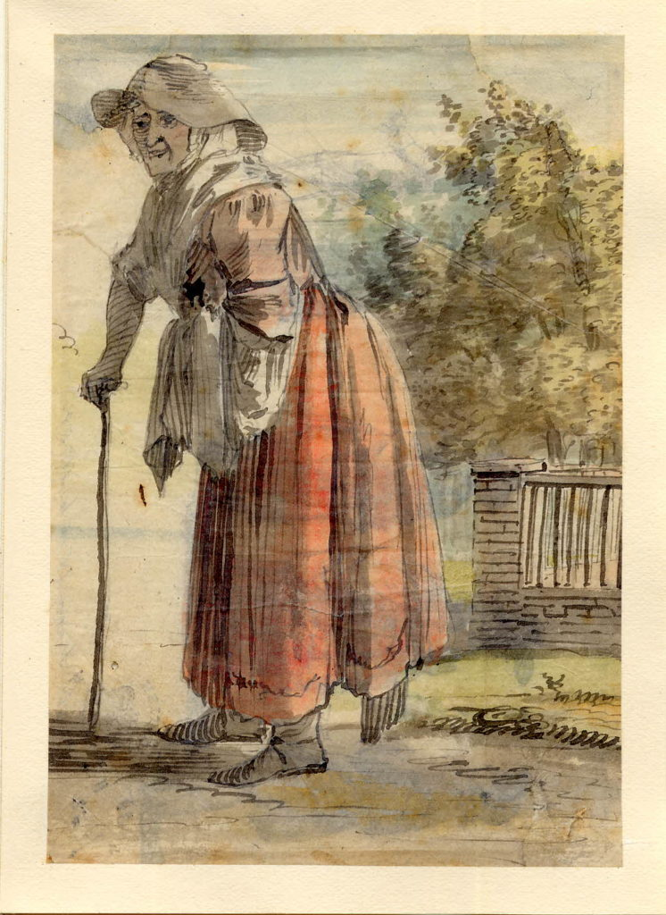 Vieille femme à Edimbourg - 1747-1751 - par Paul Sandby - British Museum - ref.Nn,6.58