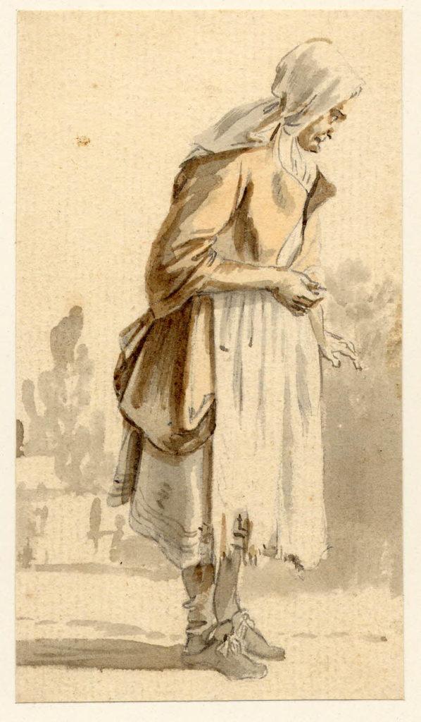 Vieille femme à Edimbourg - 1747-1751 - par Paul Sandby - British Museum - ref.Nn,6.59