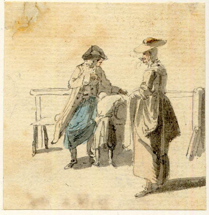 un groupe près d'un banc. Un homme, un garçon et une femme fumant la pipe - 1747-1751 - par Paul Sandby - British Museum - ref.Nn,6.6