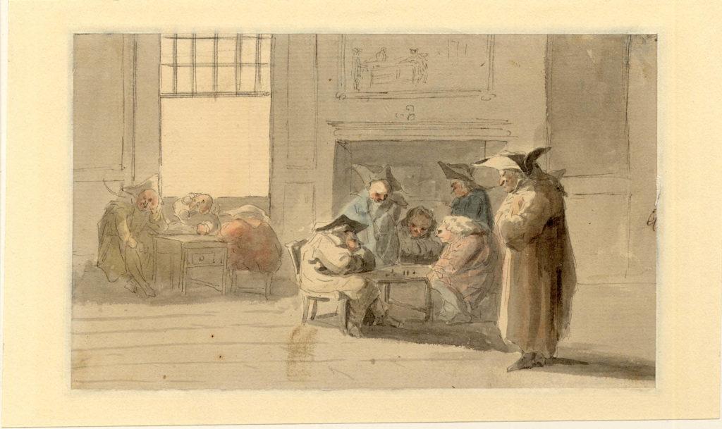 Groupe jouant aux échecs à Edimbourg - 1747-1751 - par Paul Sandby - British Museum - ref.Nn,6.60