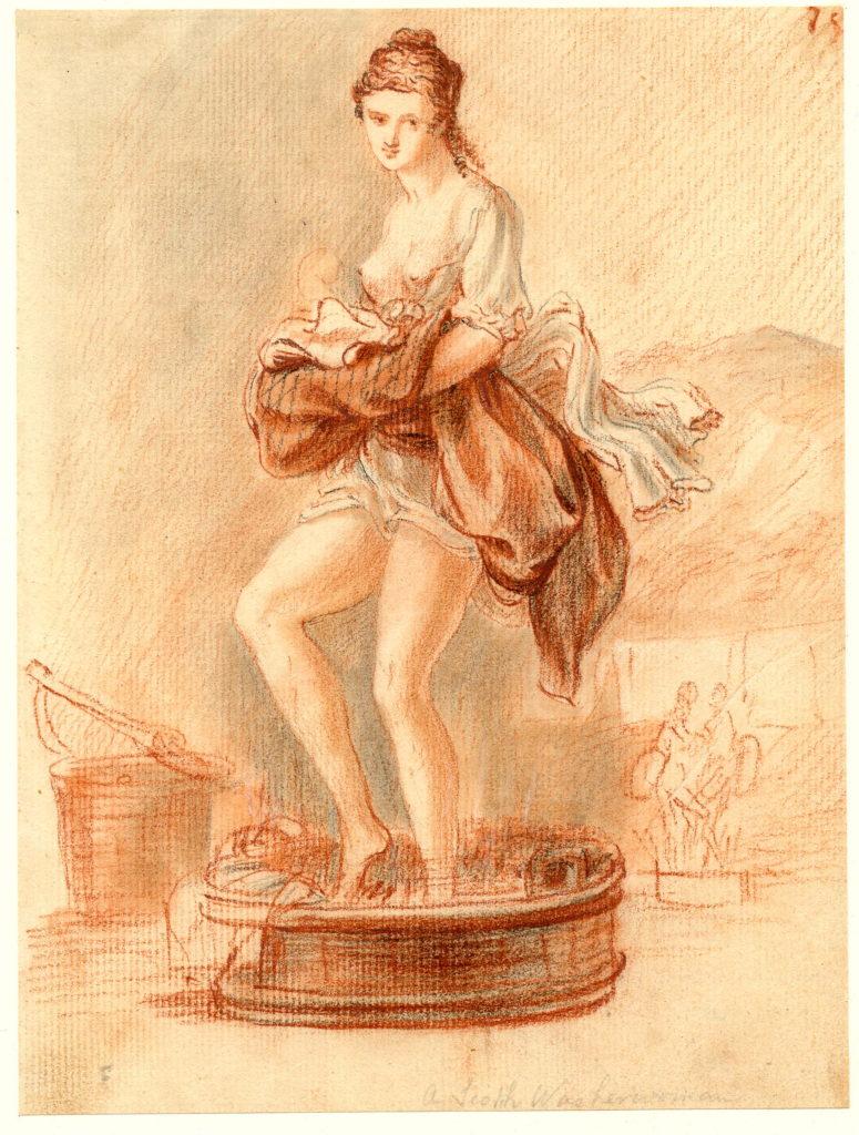 Une lavandière écosssaise. Notez le Arisaid en tartan - 1747-1751 - par Paul Sandby - British Museum - ref.Nn,6.61