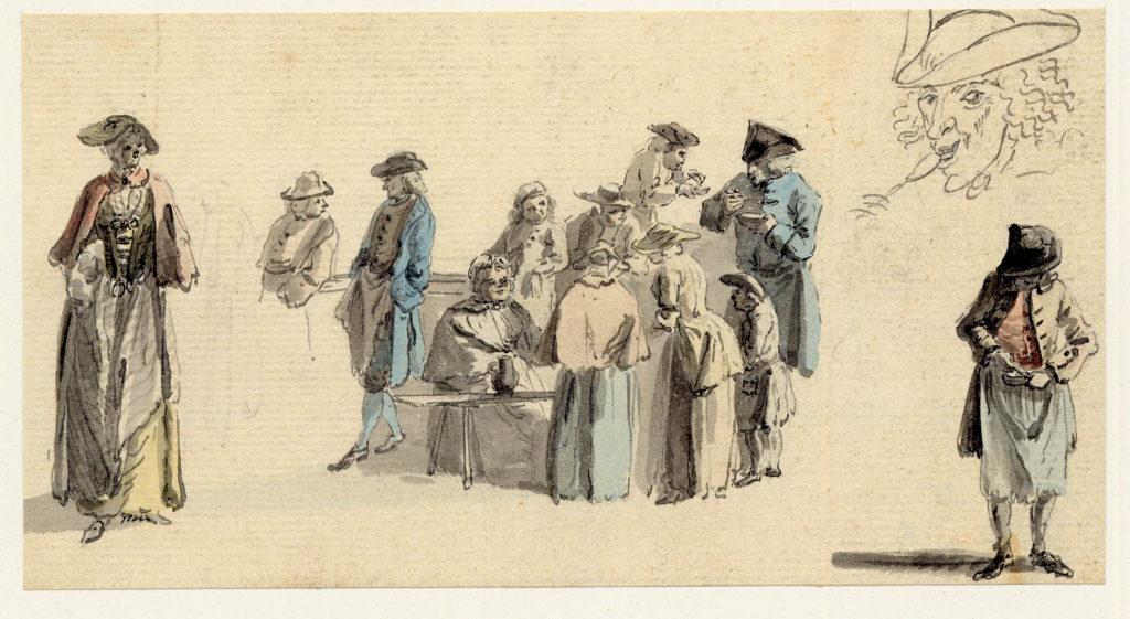 Scène de vie à Edimbourg, un groupe se trouvent à un étal, certains mangent - 1747-1751 - par Paul Sandby - British Museum - ref.Nn,6.63