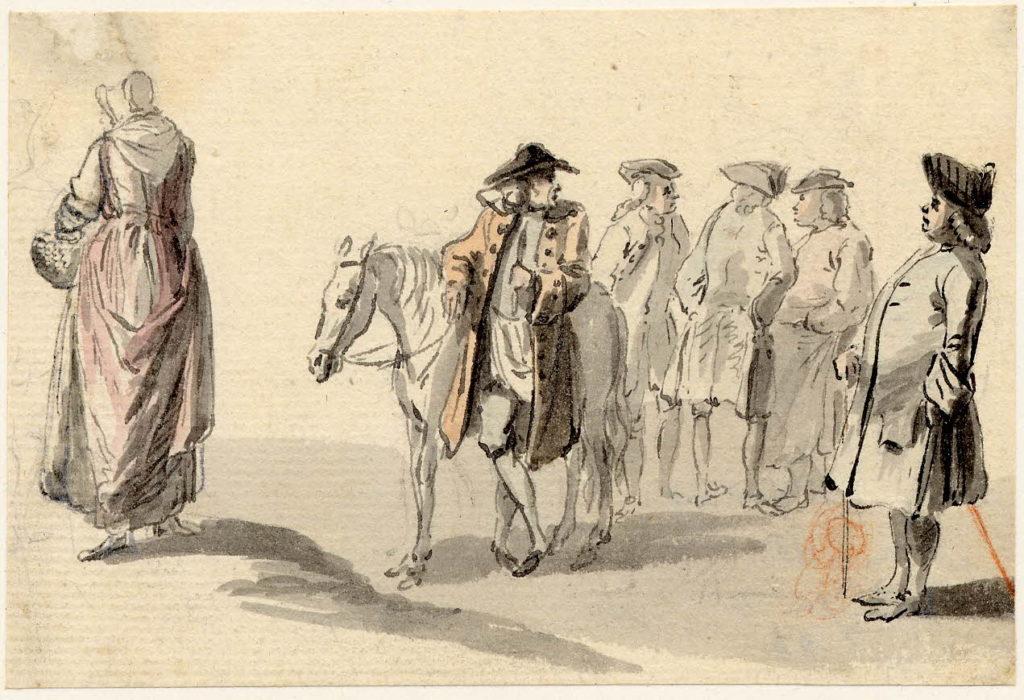 Scène de vie à Edimbourg, un groupe discute - 1747-1751 - par Paul Sandby - British Museum - ref.Nn,6.64