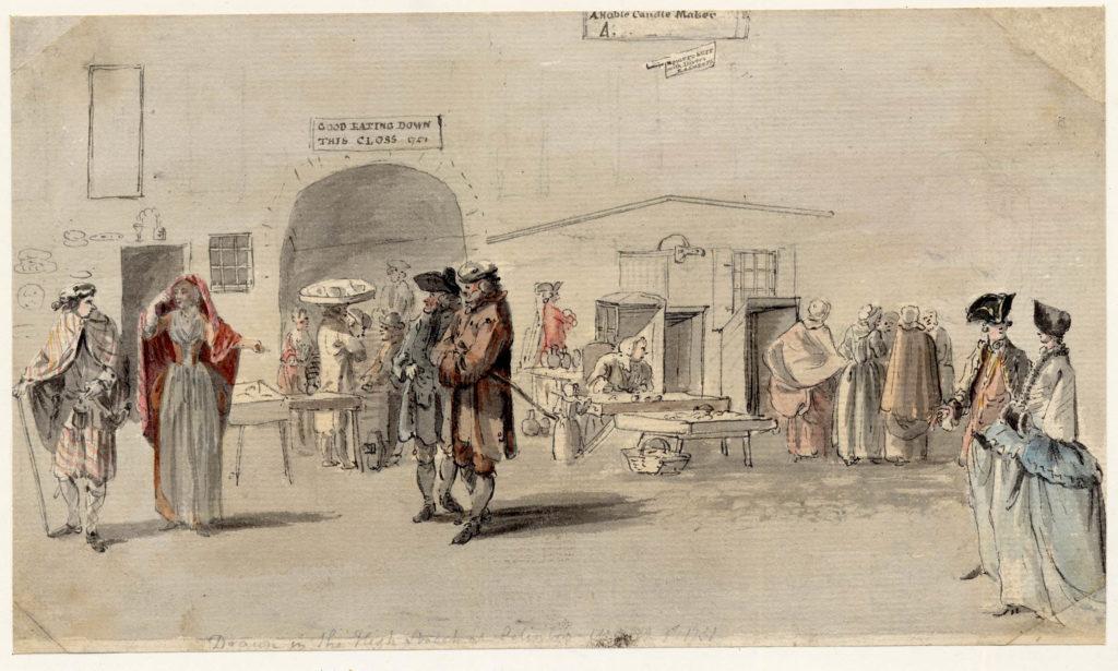 Scène de vie à Edimbourg, notez le couple de Highlanders à gauche. L'homme porte un belted plaid, la femme un arisaid - 1747-1751 - par Paul Sandby - British Museum - ref.Nn,6.67