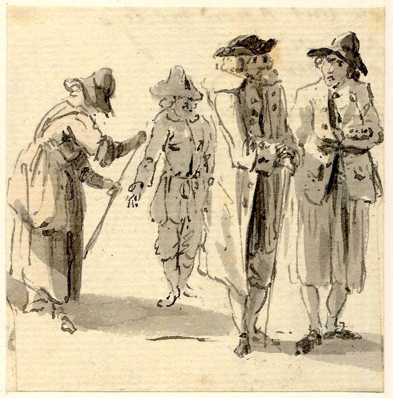 Scène de vie à Edimbourg, 3 hommes marchant et une femme - 1747-1751 - par Paul Sandby - British Museum - ref.Nn,6.7