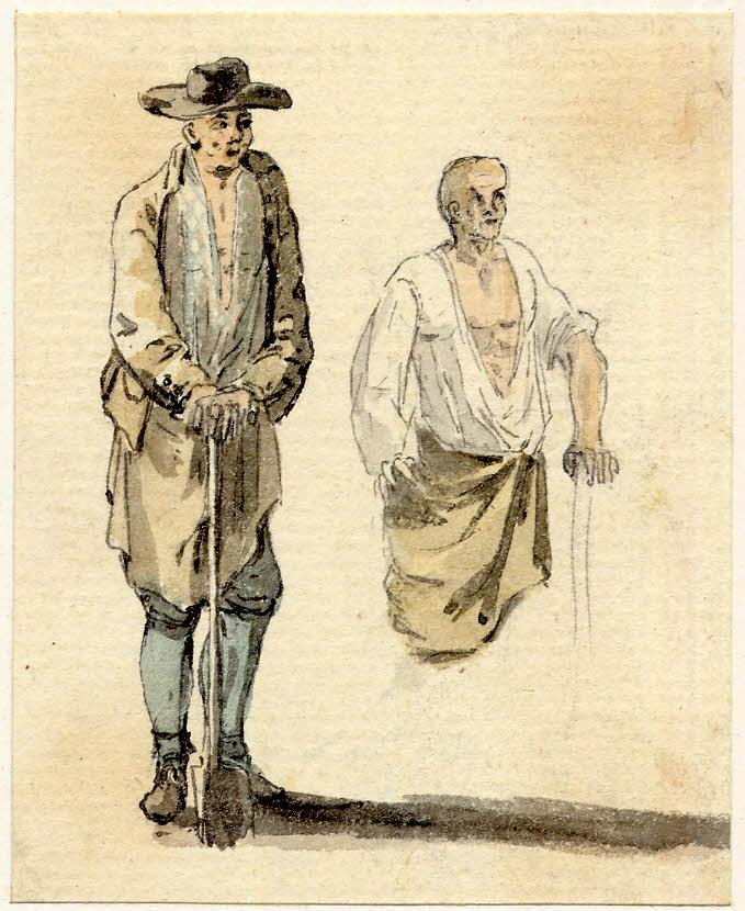 Deux hommes d'Edimbourg - 1747-1751 - par Paul Sandby - British Museum - ref.Nn,6.8