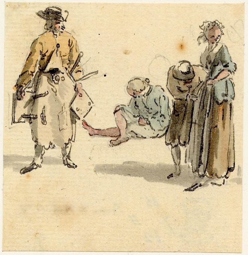 Groupe de personnes d'Edimbourg, la personne à gauche portant les tabourets à 3 pieds porte également un tablier taché, c'est probablement un tavernier - 1747-1751 - par Paul Sandby - British Museum - ref.Nn,6.9