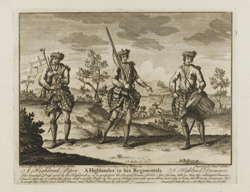 Pipers Highlanders - par I S Muller - 1774 - (National Museum of Scotland Ref. M.1966.109)