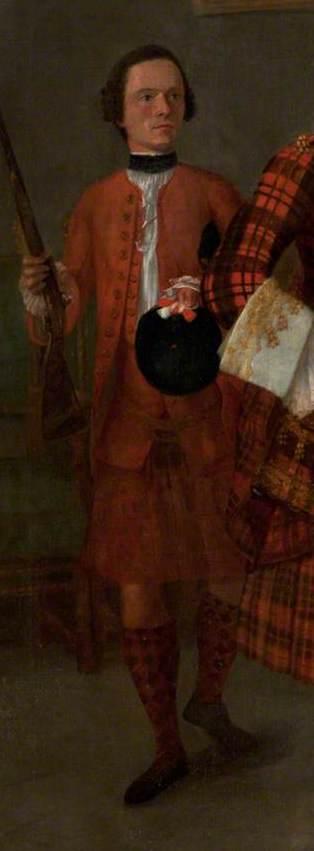 Le détail de cette peinture d'Alasdair Ruadh MacDonell datée d'aux environs de 1750 présente une des rares iconographies d'un Philabeg. En arrière plan, le serviteur porte ce vêtement.