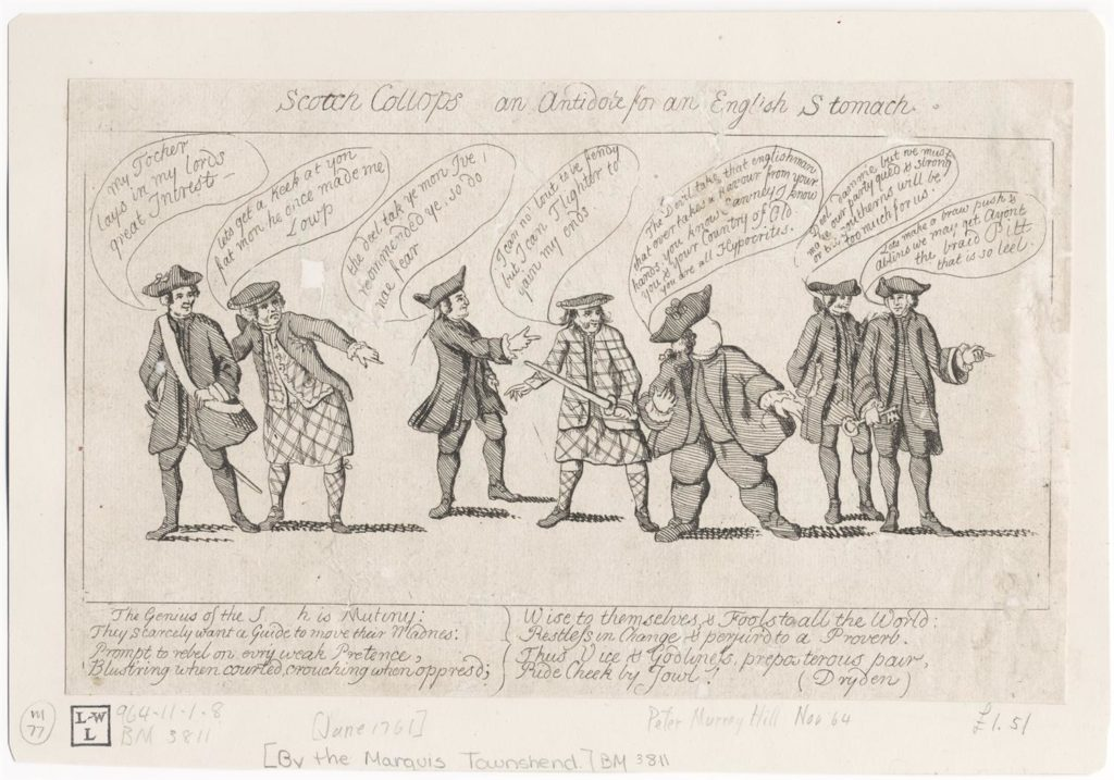 Caricature moquant des Écossais en philabeg, Londres, 1761, Lewis Walpole Library, Ref. digcoll:549791