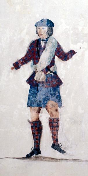 Peinture murale du château de Loevestein - artiste inconnu - vers 1750 - détail montrant un danseur en philabeg